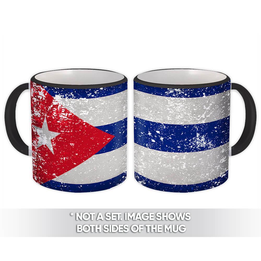 Cuba : Gift Mug Flag Retro Artistic Cuban Expat Country Made In USA