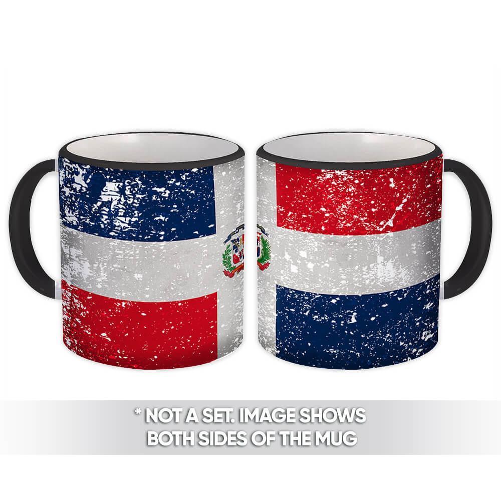 Dominican Republic : Gift Mug Flag Retro Artistic Dominican Expat Country