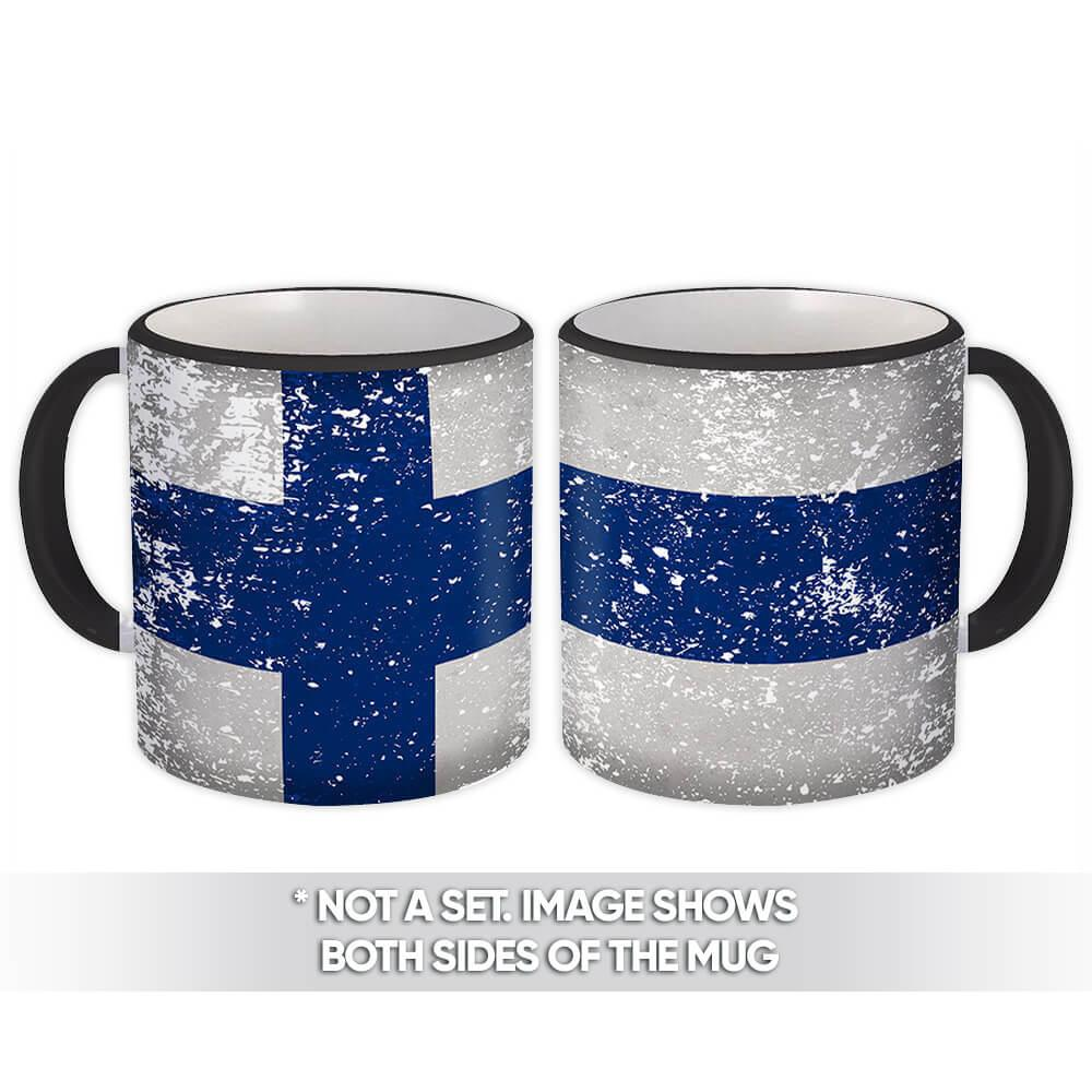 Finland : Gift Mug Flag Retro Artistic Finnish Expat Country