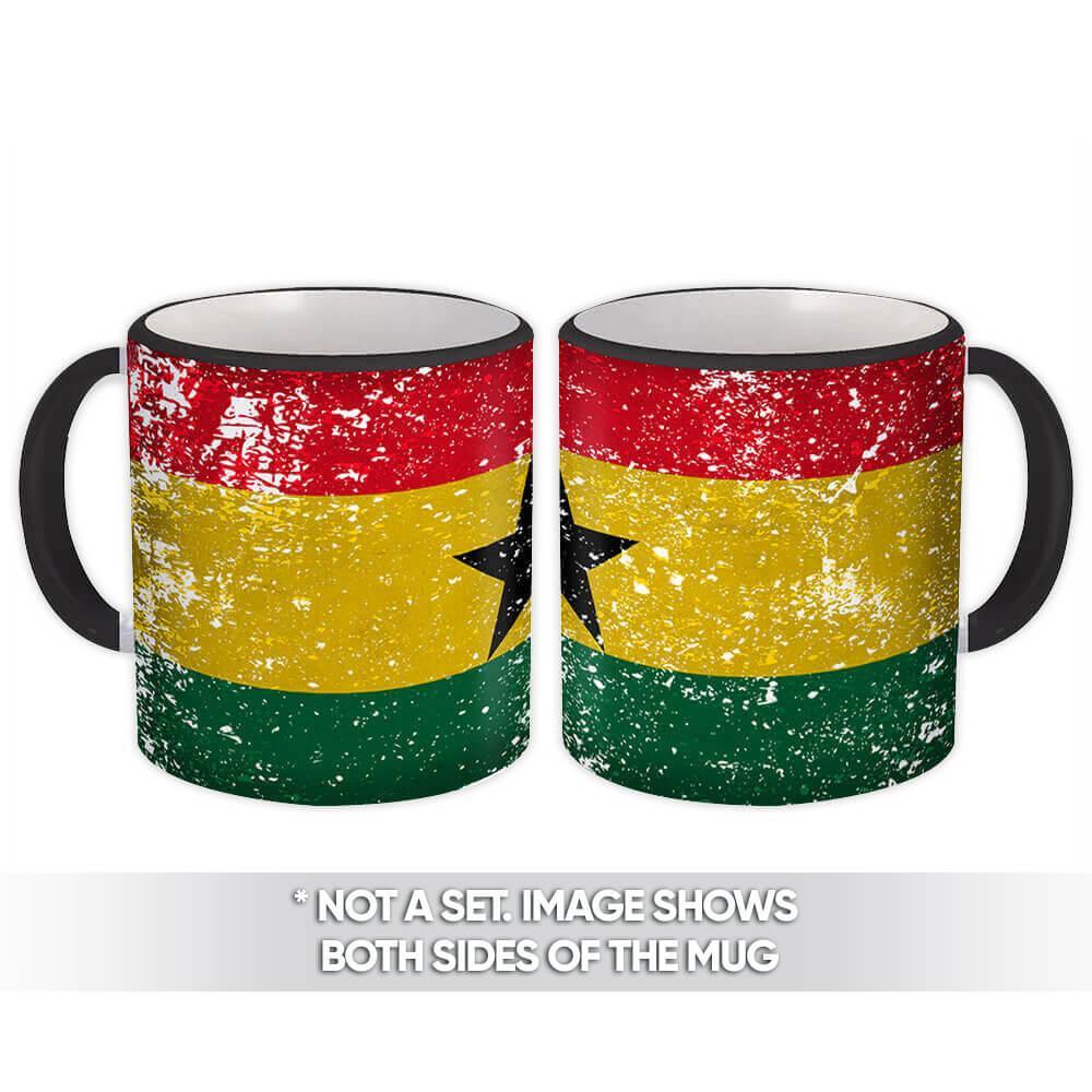 Ghana : Gift Mug Flag Retro Artistic Ghanaian Expat Country