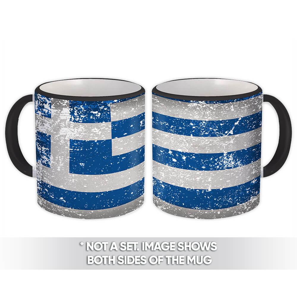 Greece : Gift Mug Flag Retro Artistic Greek Expat Country