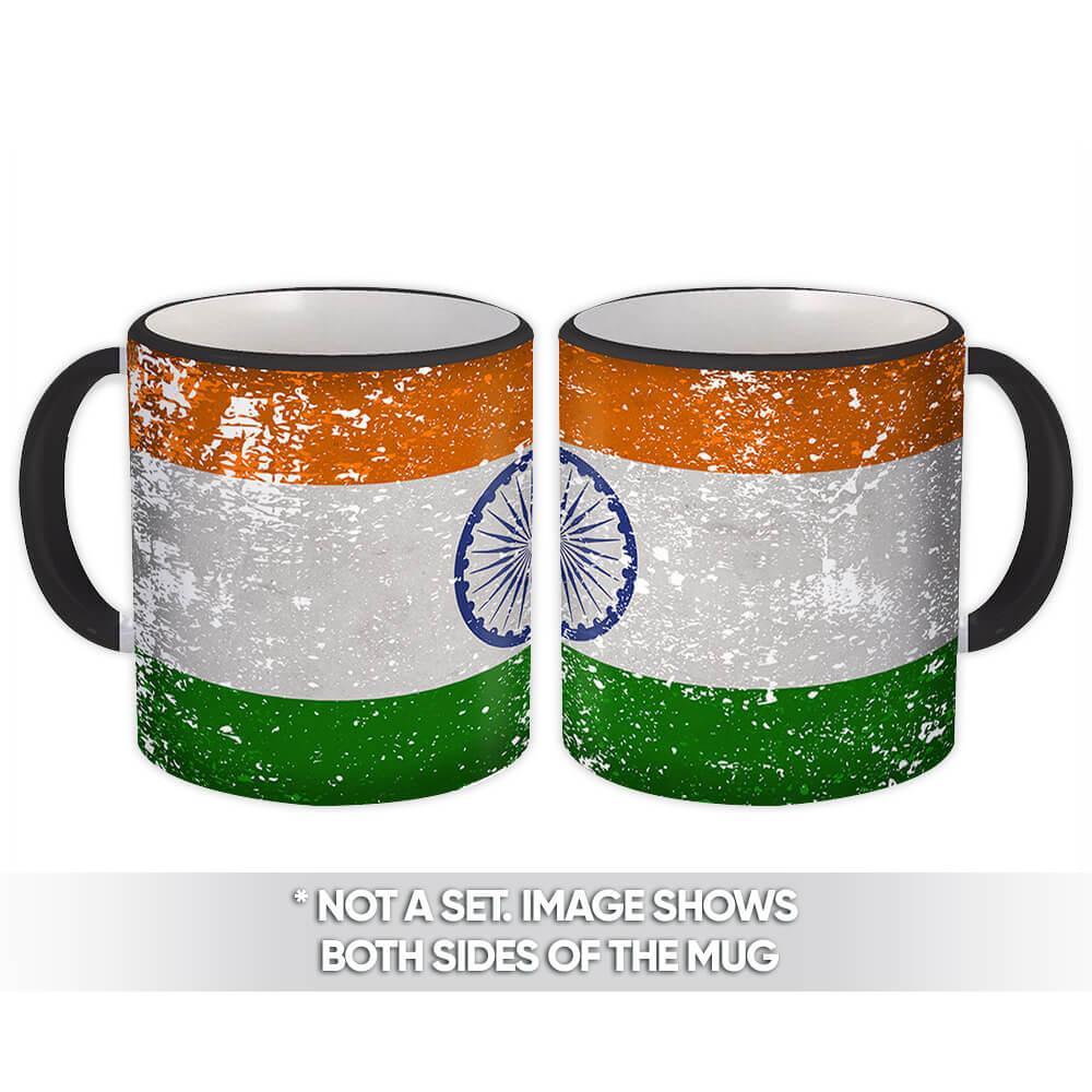 India : Gift Mug Flag Retro Artistic Indian Expat Country