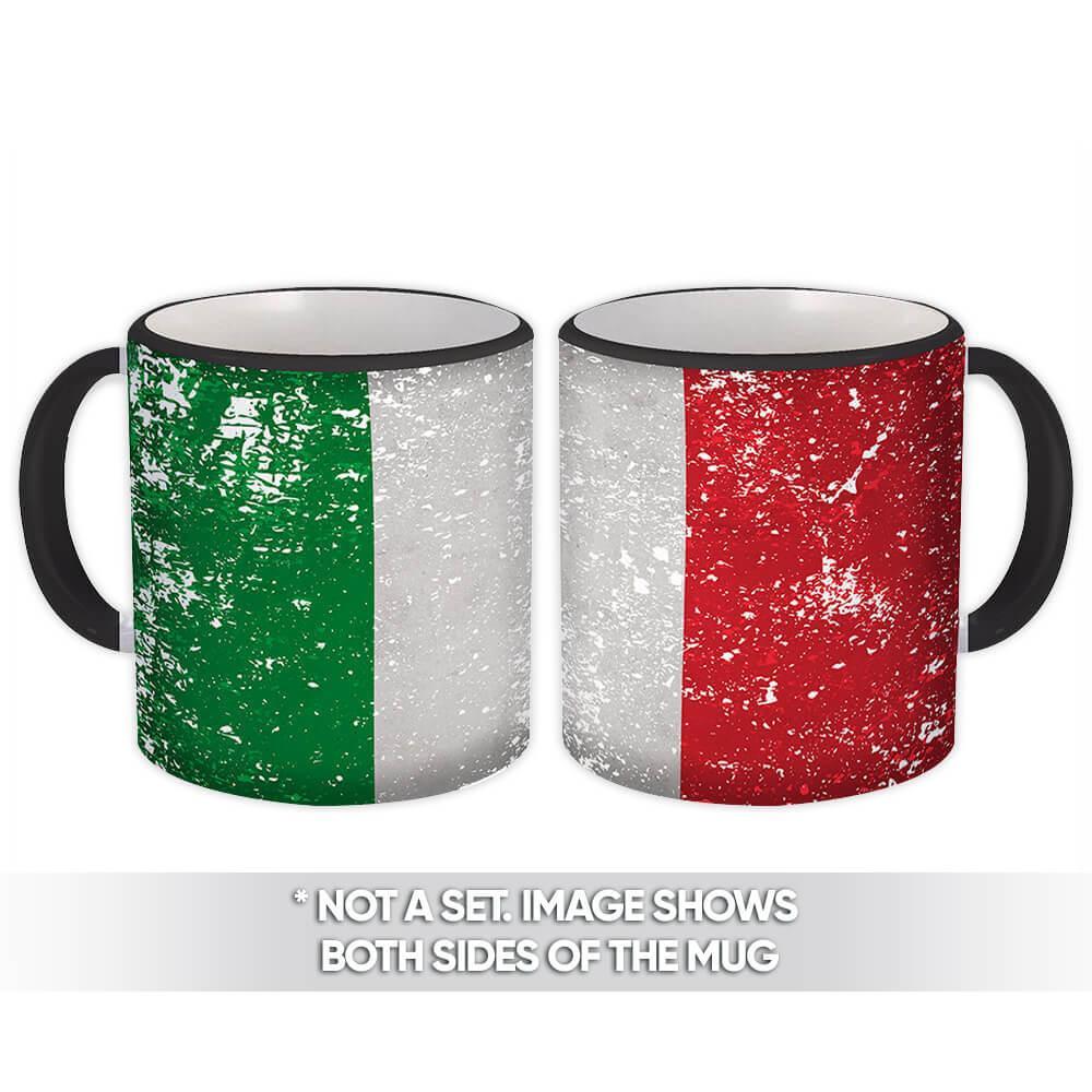 Italy : Gift Mug Flag Retro Artistic Italian Expat Country