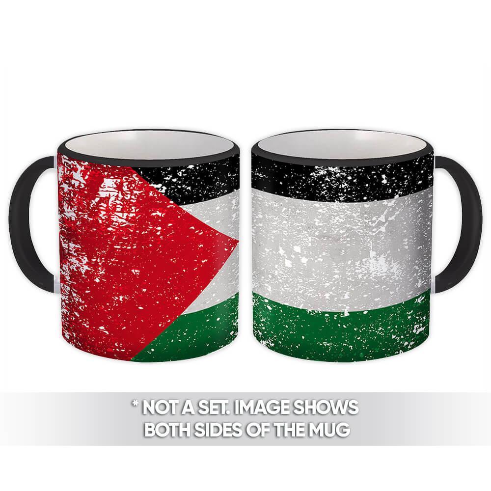 Palestine : Gift Mug Flag Retro Artistic Palestinian Expat Country