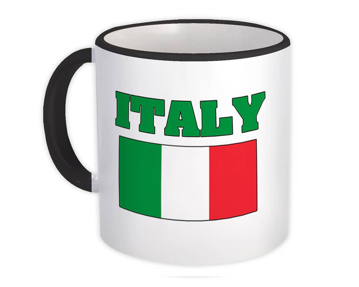 Italy : Gift Mug Flag Chest Italian Country Expat Patriotic Flags Travel Souvenir