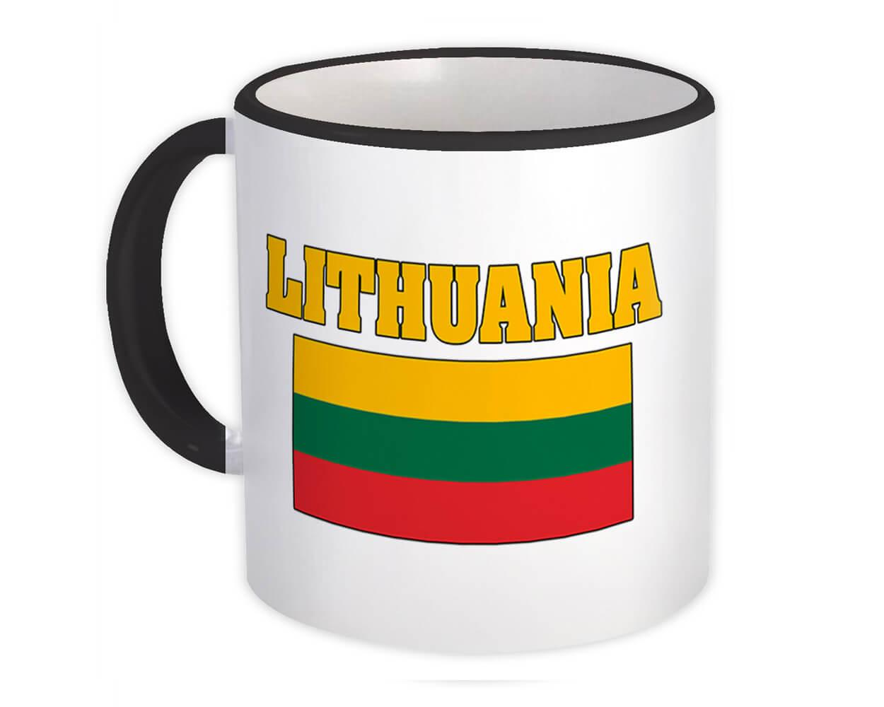 Lithuania : Gift Mug Flag Chest Lithuanian Country Expat