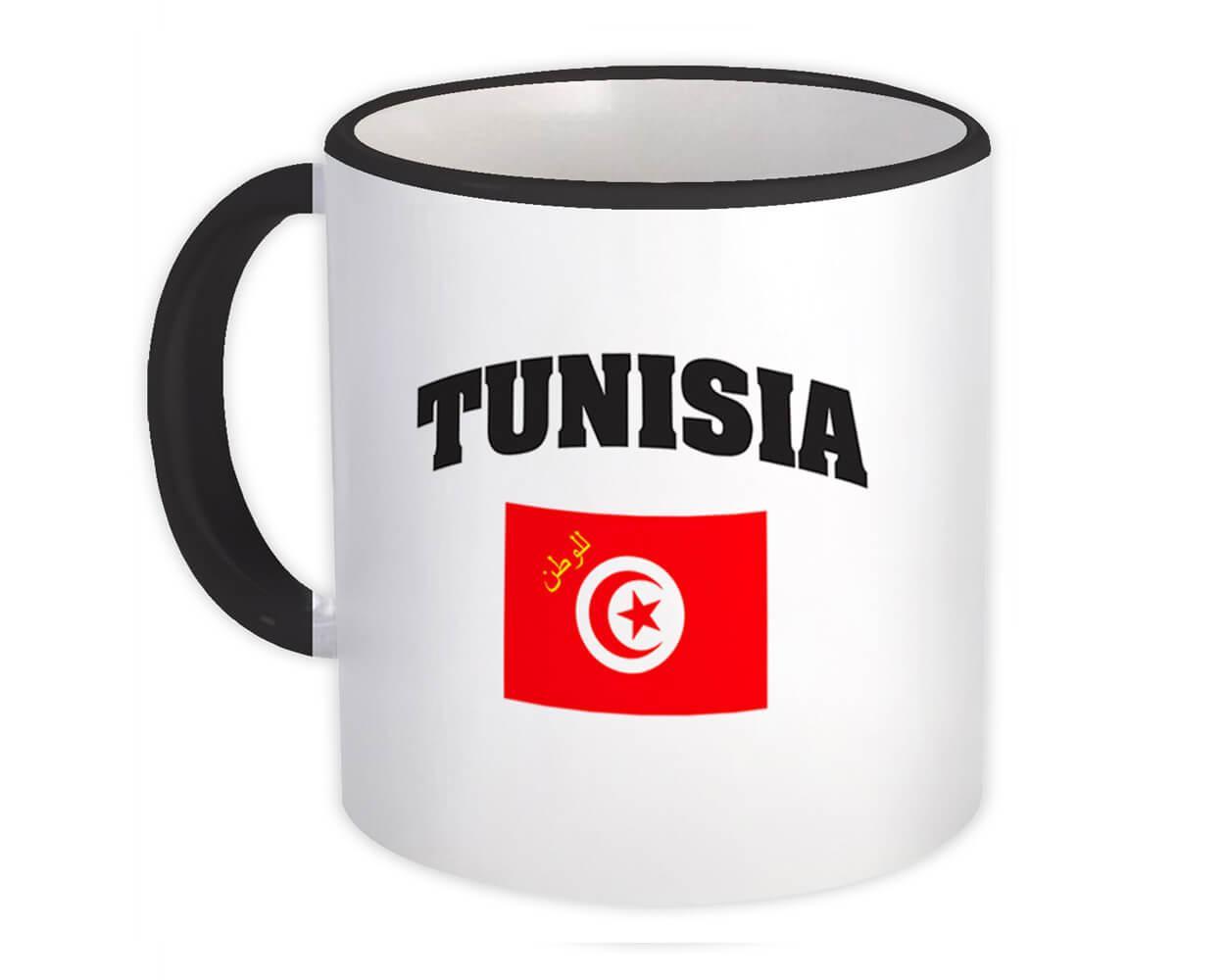 Tunisia : Gift Mug Flag Chest Tunisian Expat Country Patriotic Flags Travel Souvenir