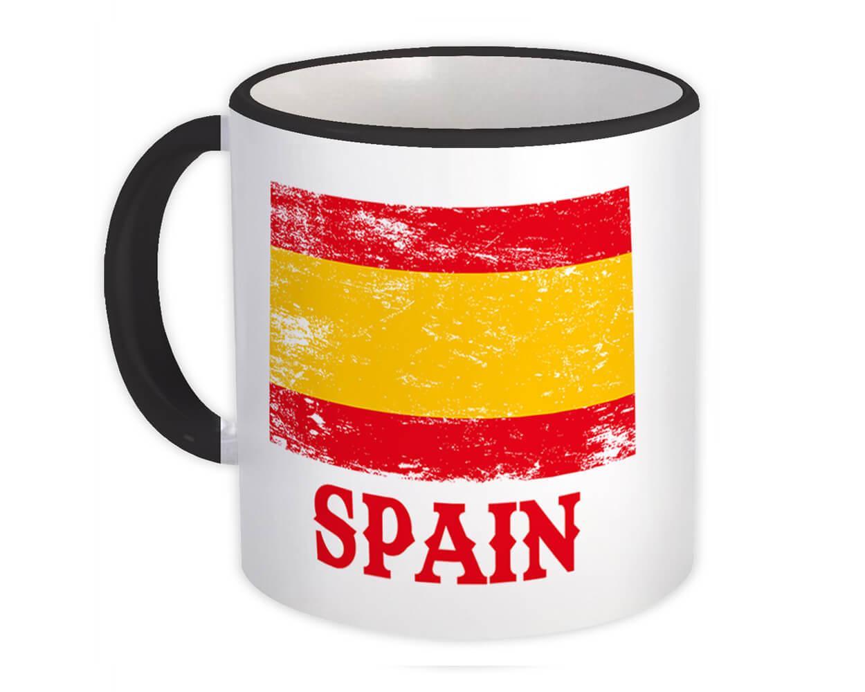 Spain : Gift Mug Distressed Flag Patriotic Spanish Expat Country