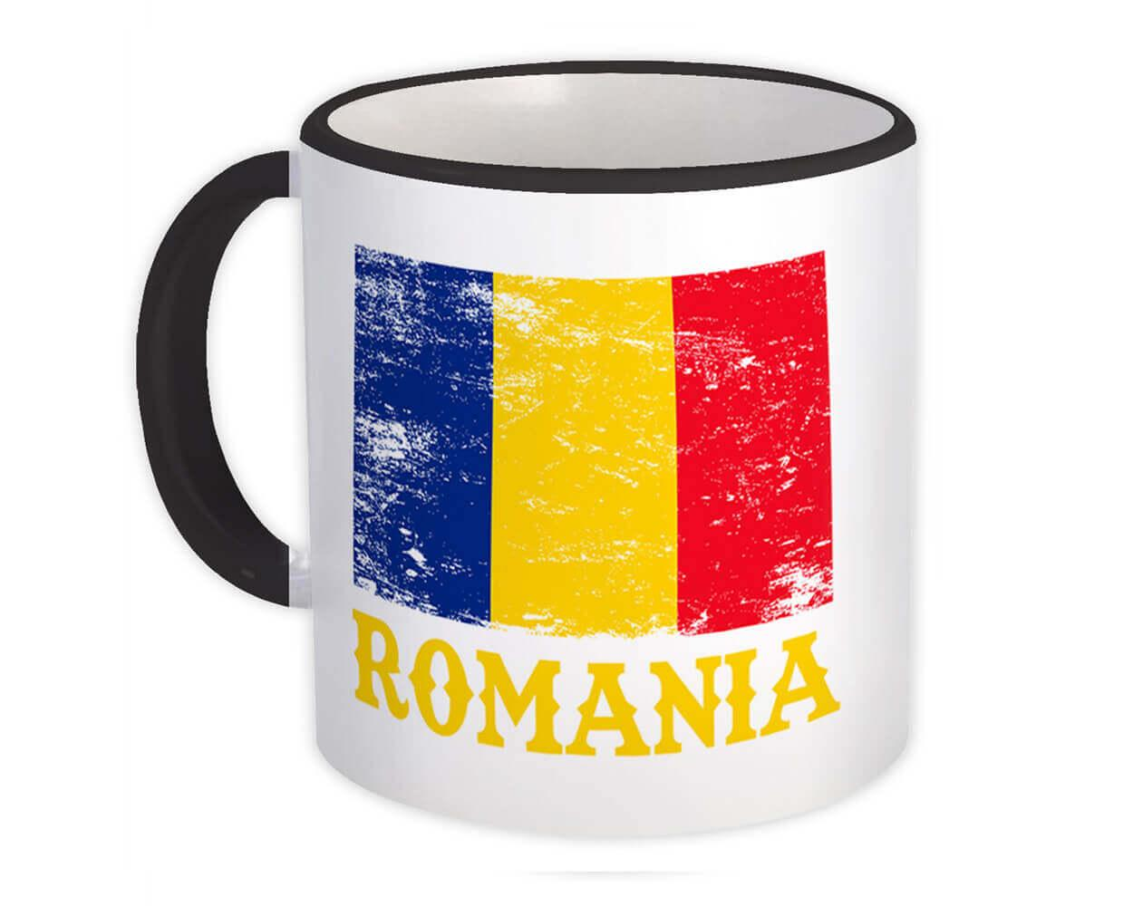 Romania : Gift Mug Distressed Flag Patriotic Romanian Expat Country