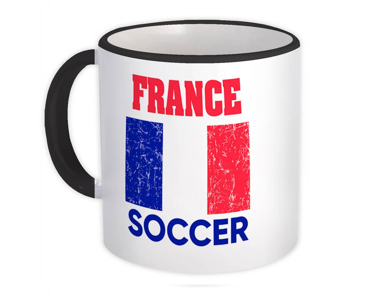 France : Gift Mug Distressed Flag Soccer Football Team French Country