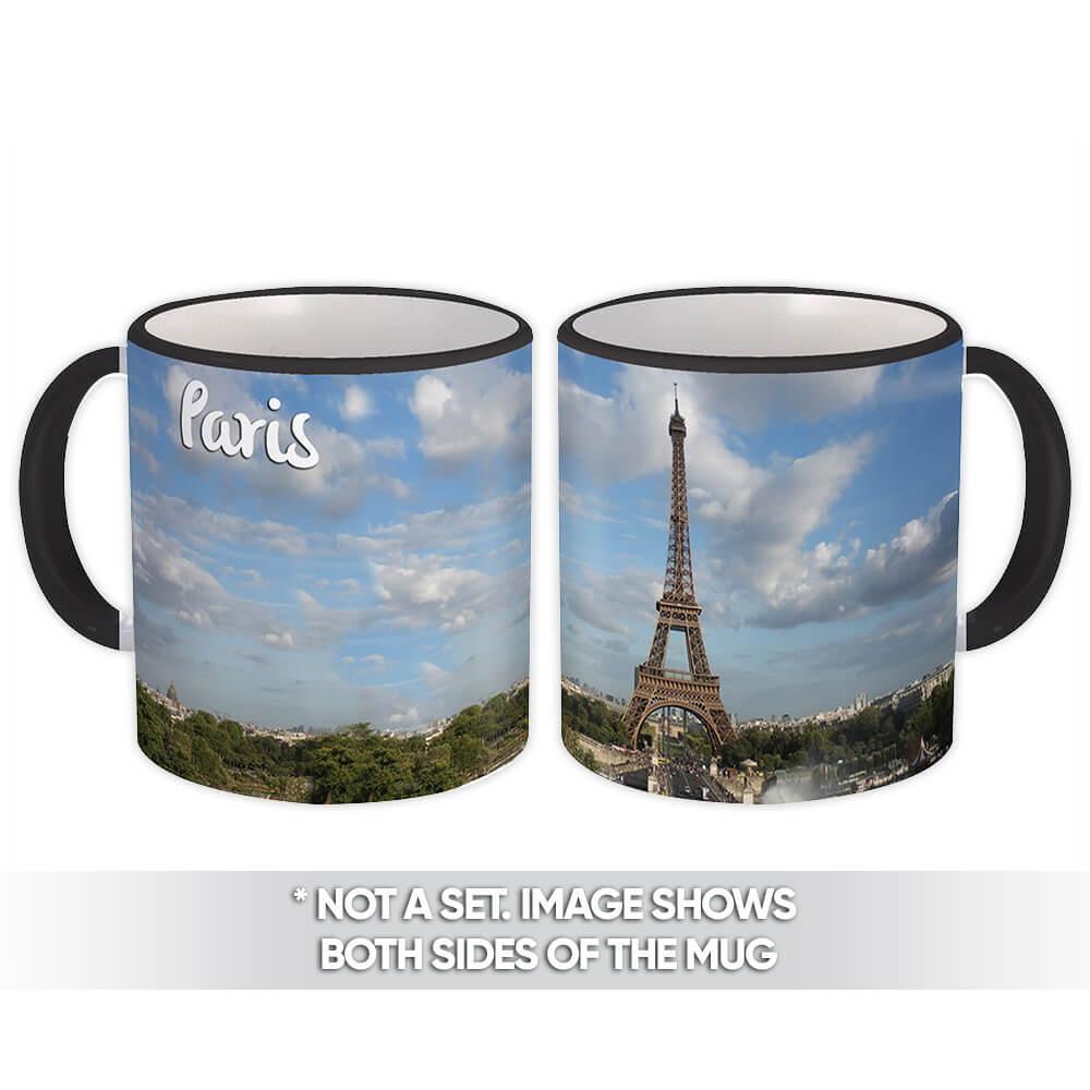 PARIS FRANCE : Gift Mug Eiffel Tower Flag French Parisian Country Souvenir Expat
