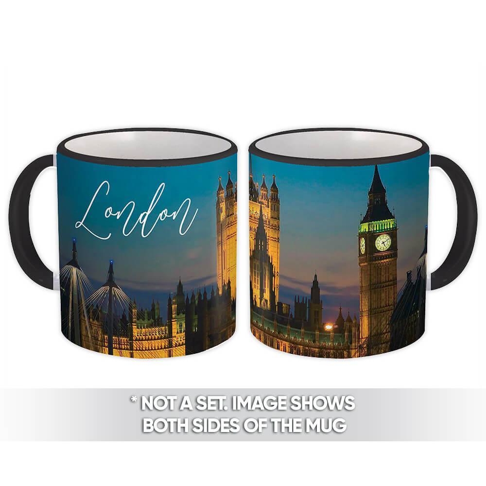 LONDON ENGLAND : Gift Mug Big Ben Parliament Flag UK British Country Souvenir