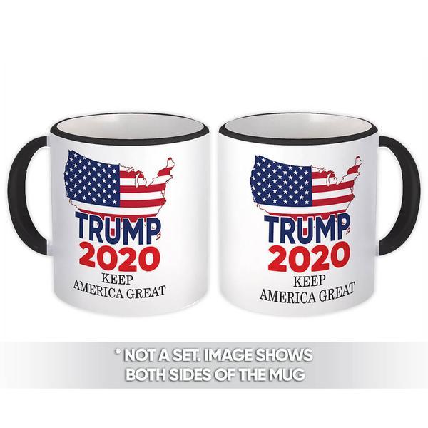 Keep America Great Trump 2020 : Gift Mug USA Donald American Flag Map MAGA