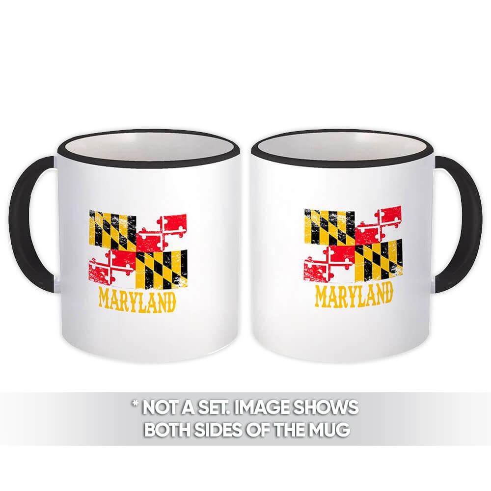 Maryland : Gift Mug Flag Distressed Souvenir State USA Christmas Coworker