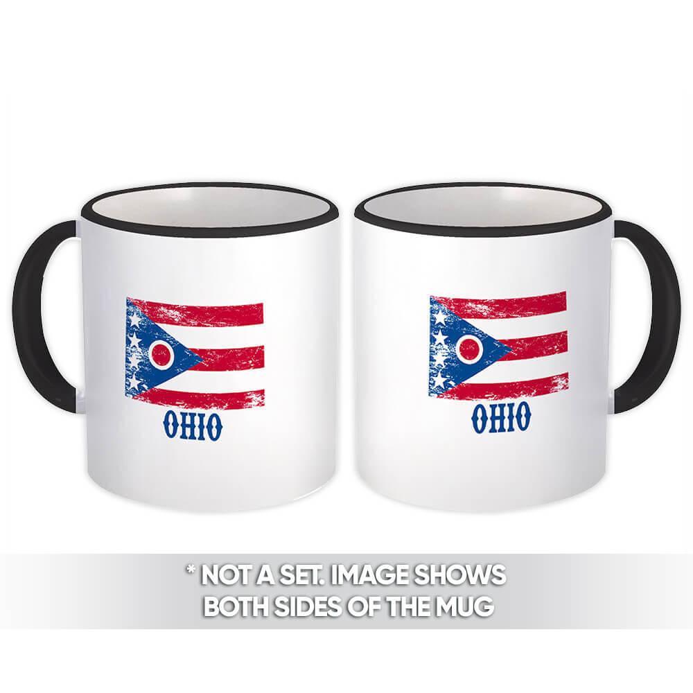 Ohio : Gift Mug Flag Distressed Souvenir State USA Christmas Coworker