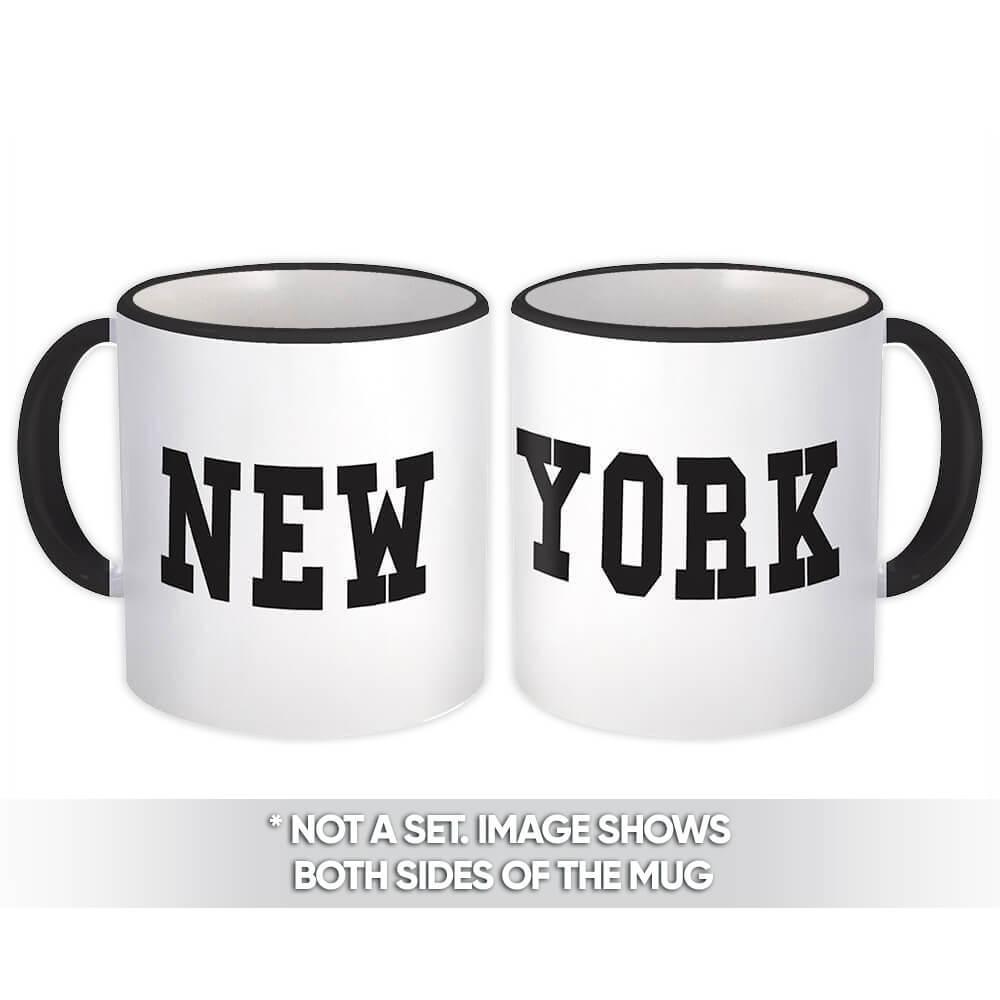 New York : Gift Mug Flag Name Souvenir State USA Christmas Coworker