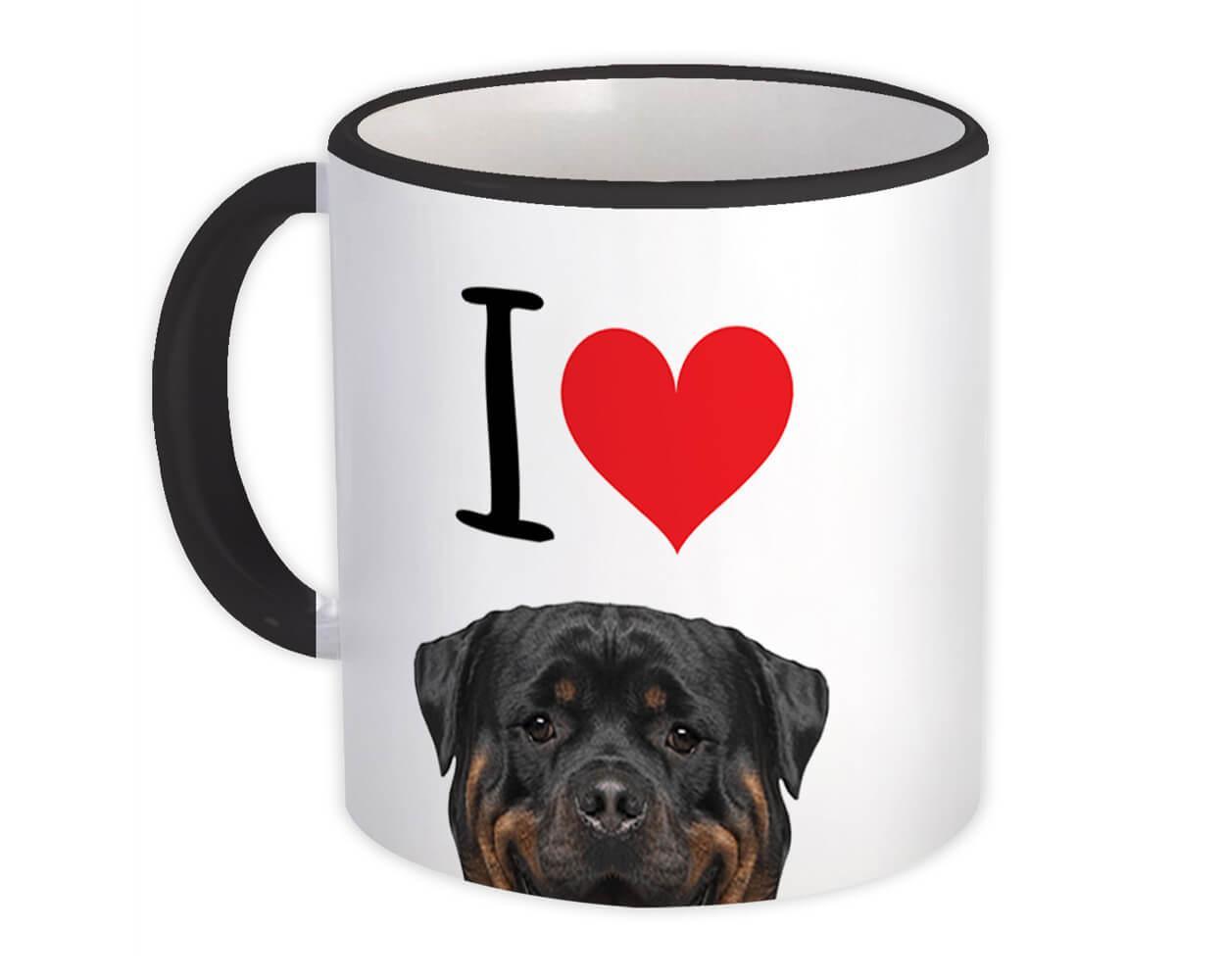 I Love Rottweiler : Gift Mug Dog Lover Funny Owner Heart Cute Pet Mom Dad