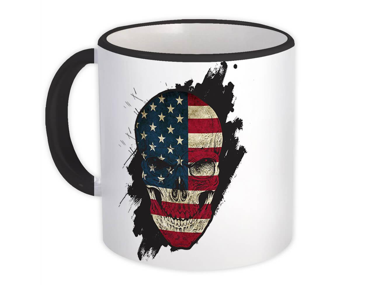 Skull American : Gift Mug Flag USA United States Patriotic Stars & Stripes