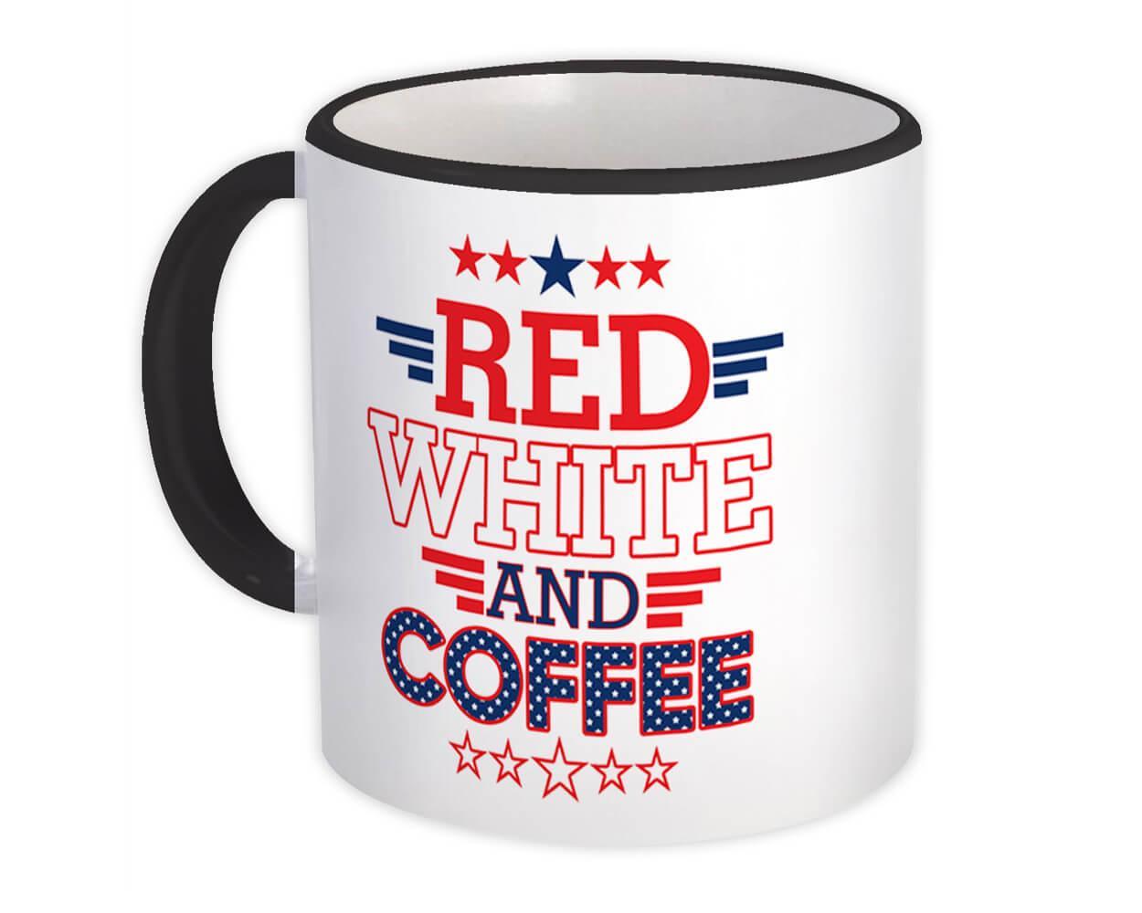 Red White & Coffee : Gift Mug American USA Flag Stars Stripes Americana