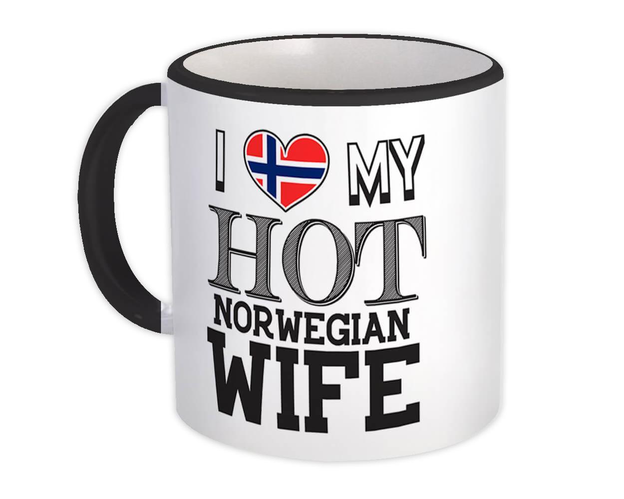I Love My Hot Norwegian Wife : Gift Mug Norway Flag Country Valentines Day