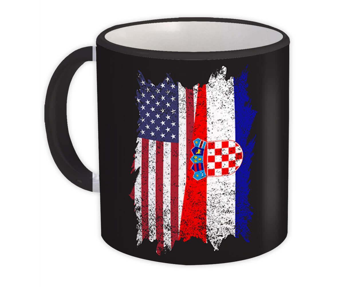 United States Croatia : Gift Mug American Croatian Flag Expat Mixed Country Flags