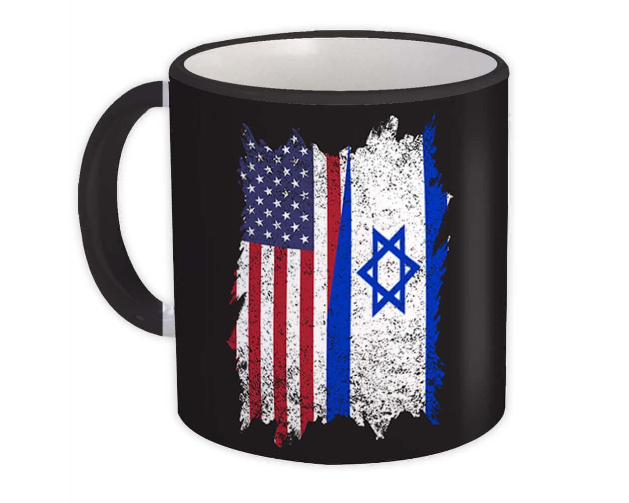 United States Israel : Gift Mug American Israeli Flag Expat Mixed Country Flags