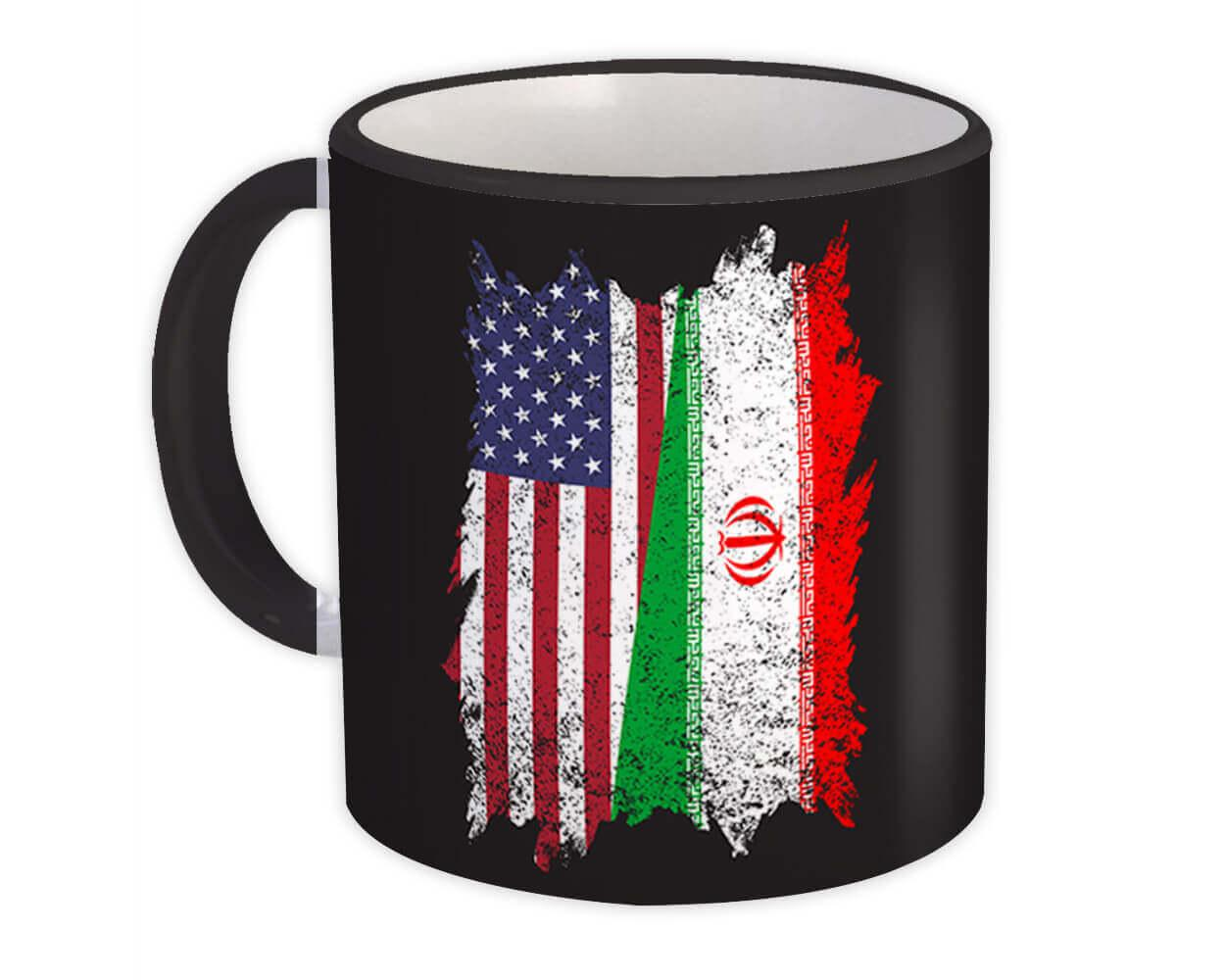 United States Iran : Gift Mug American Iranian Flag Expat Mixed Country Flags Made in USA