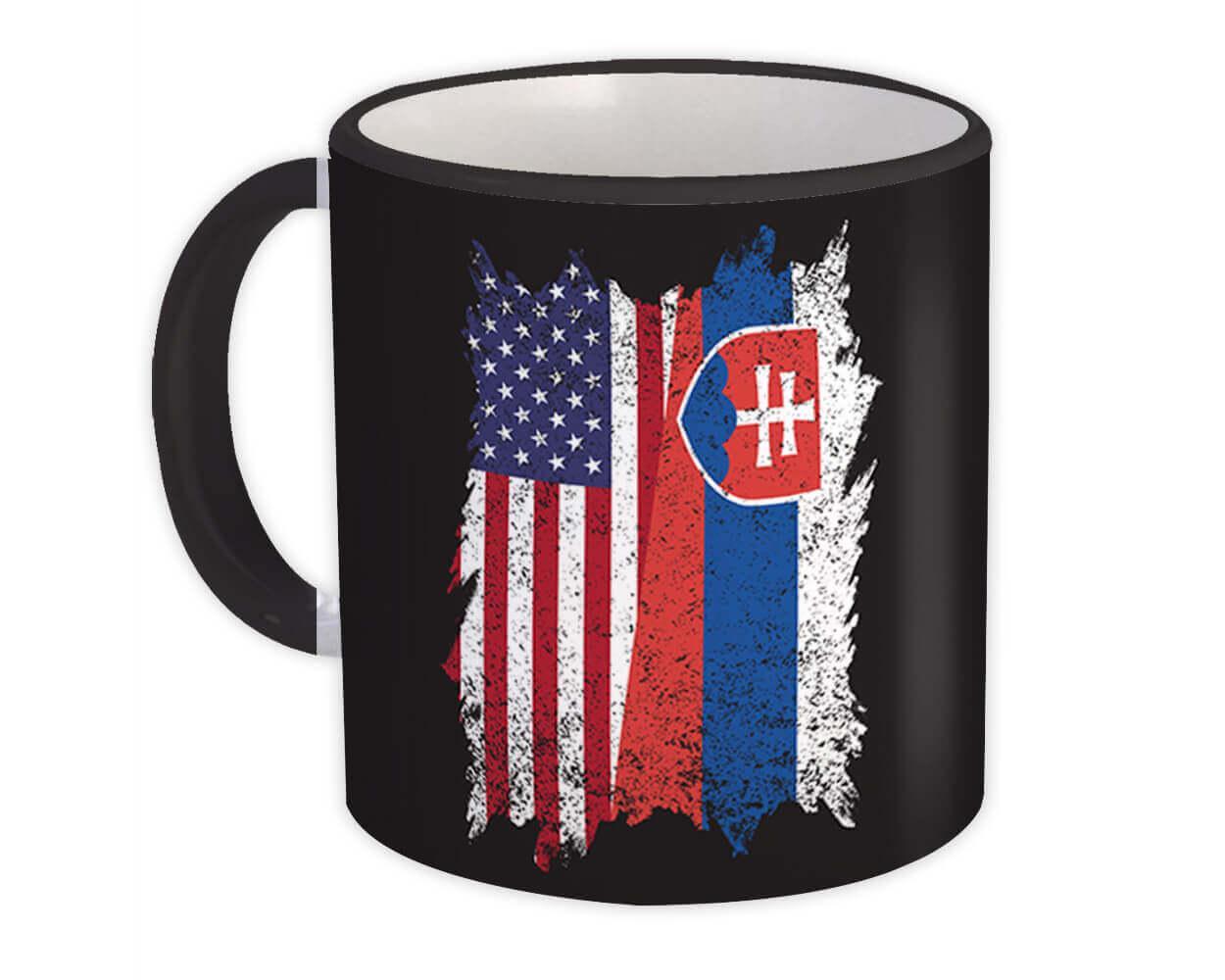 United States Slovakia : Gift Mug American Slovak Flag Expat Mixed Country Flags