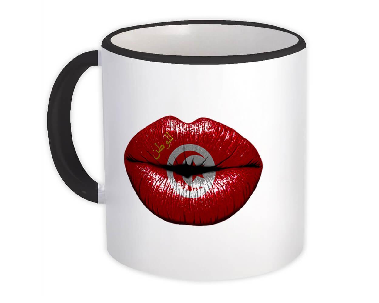 Lips Tunisian Flag : Gift Mug Tunisia Expat Country For Her Woman Feminine Women Sexy Flags Lipstick