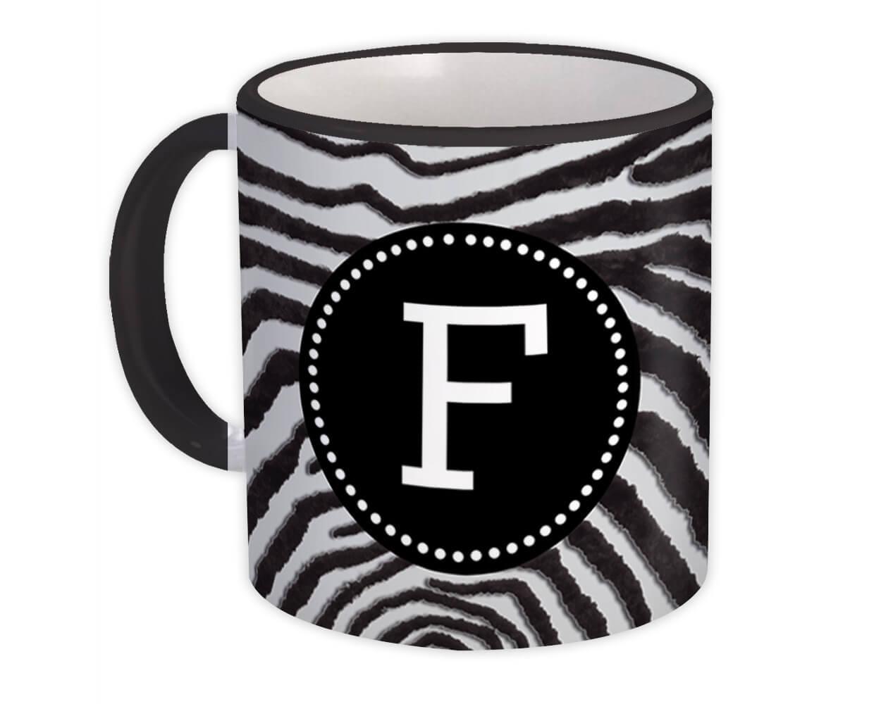 Monogram Letter F : Gift Mug Zebra Letter Initial ABC Animal Circle