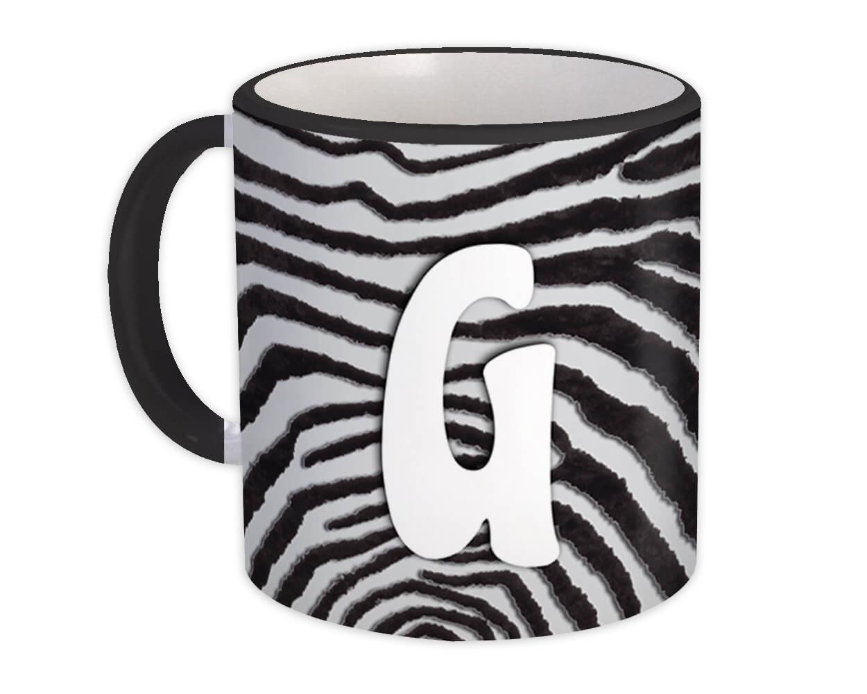 Monogram Letter G : Gift Mug Zebra Letter Initial ABC Animal Print