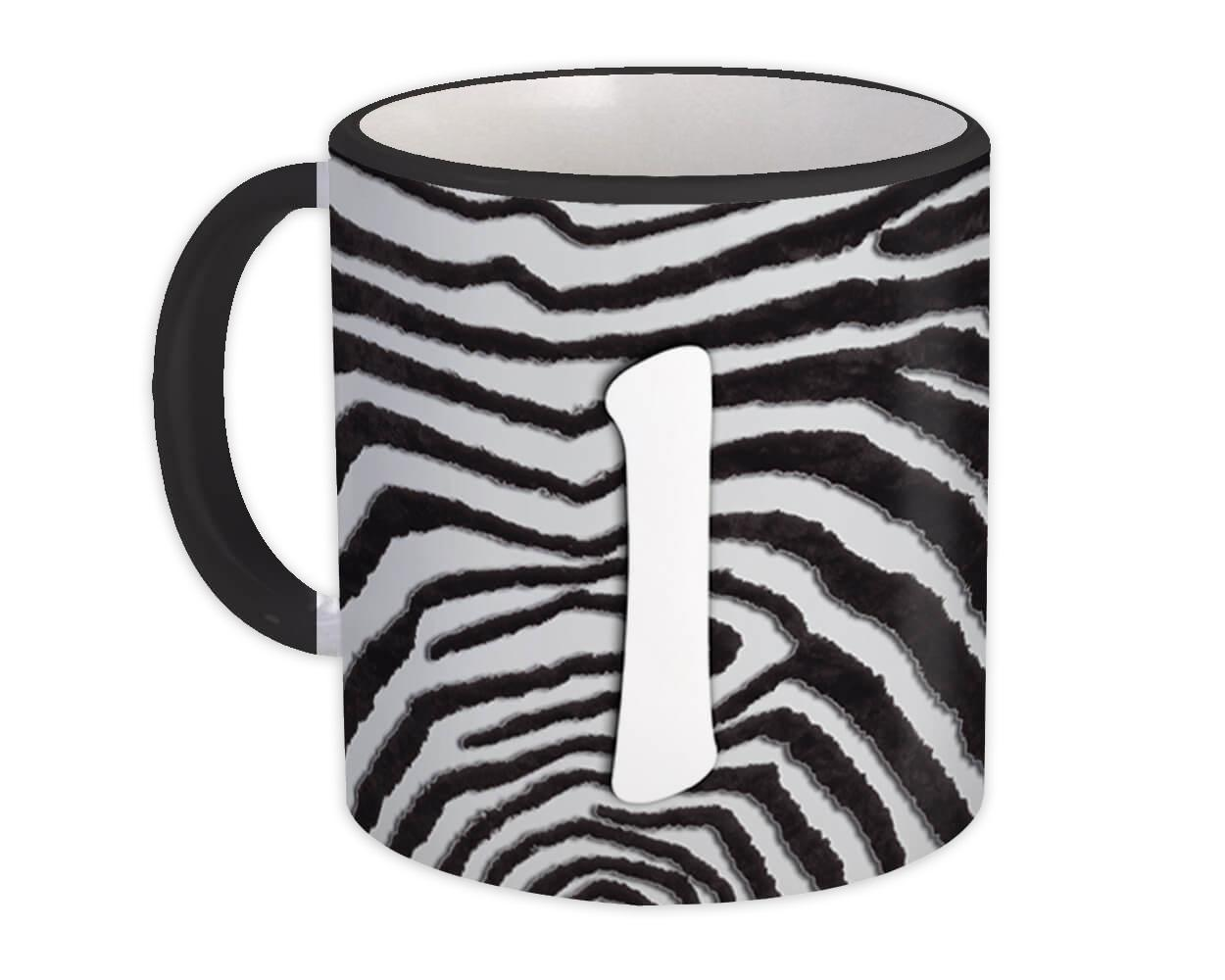 Monogram Letter I : Gift Mug Zebra Letter Initial ABC Animal Print