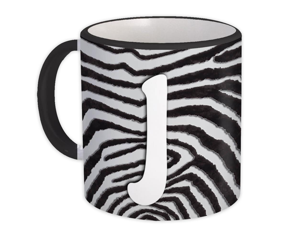 Monogram Letter J : Gift Mug Zebra Letter Initial ABC Animal Print