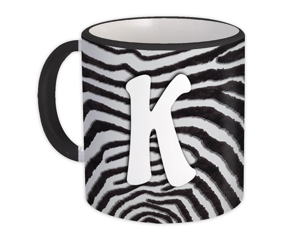 Monogram Letter K : Gift Mug Zebra Letter Initial ABC Animal Print