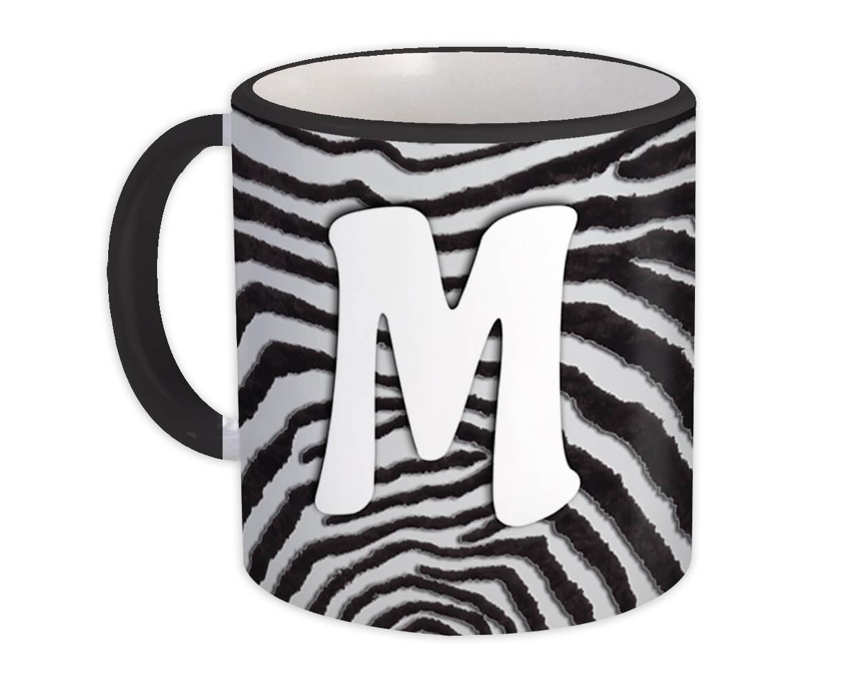 Monogram Letter M : Gift Mug Zebra Letter Initial ABC Animal Print