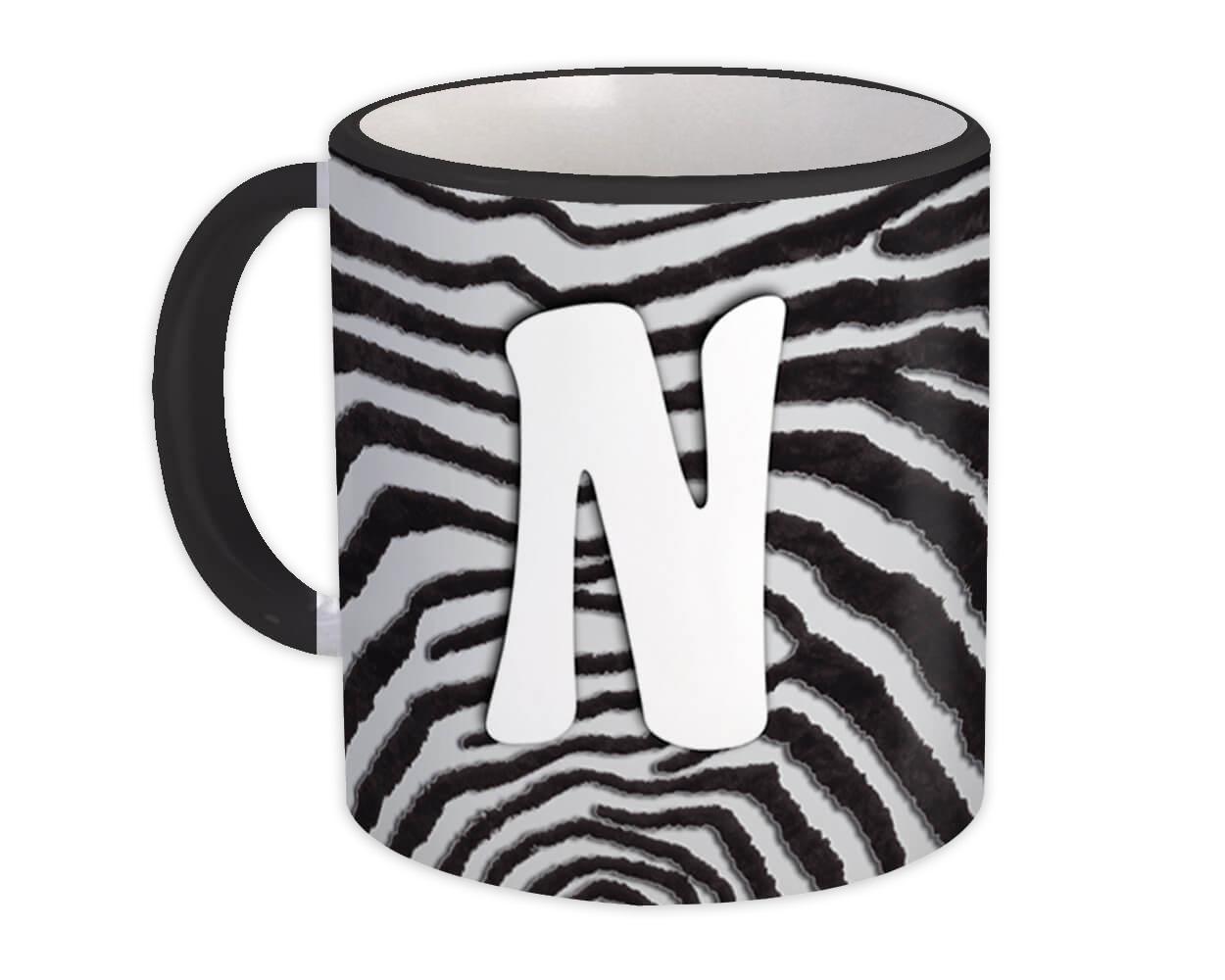 Monogram Letter N : Gift Mug Zebra Letter Initial ABC Animal Print