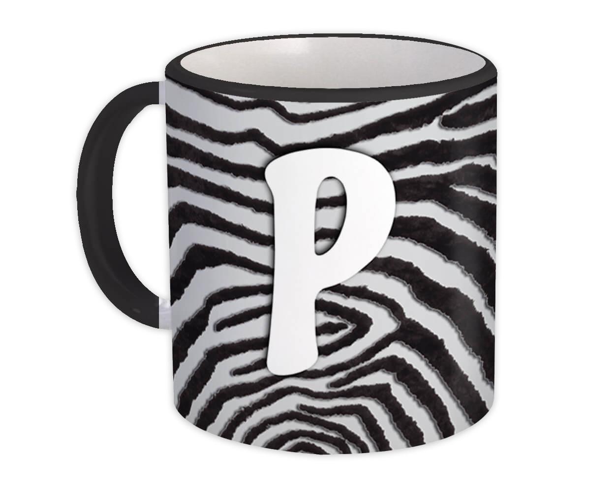 Monogram Letter P : Gift Mug Zebra Letter Initial ABC Animal Print
