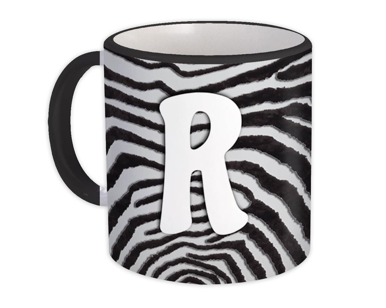 Monogram Letter R : Gift Mug Zebra Letter Initial ABC Animal Print