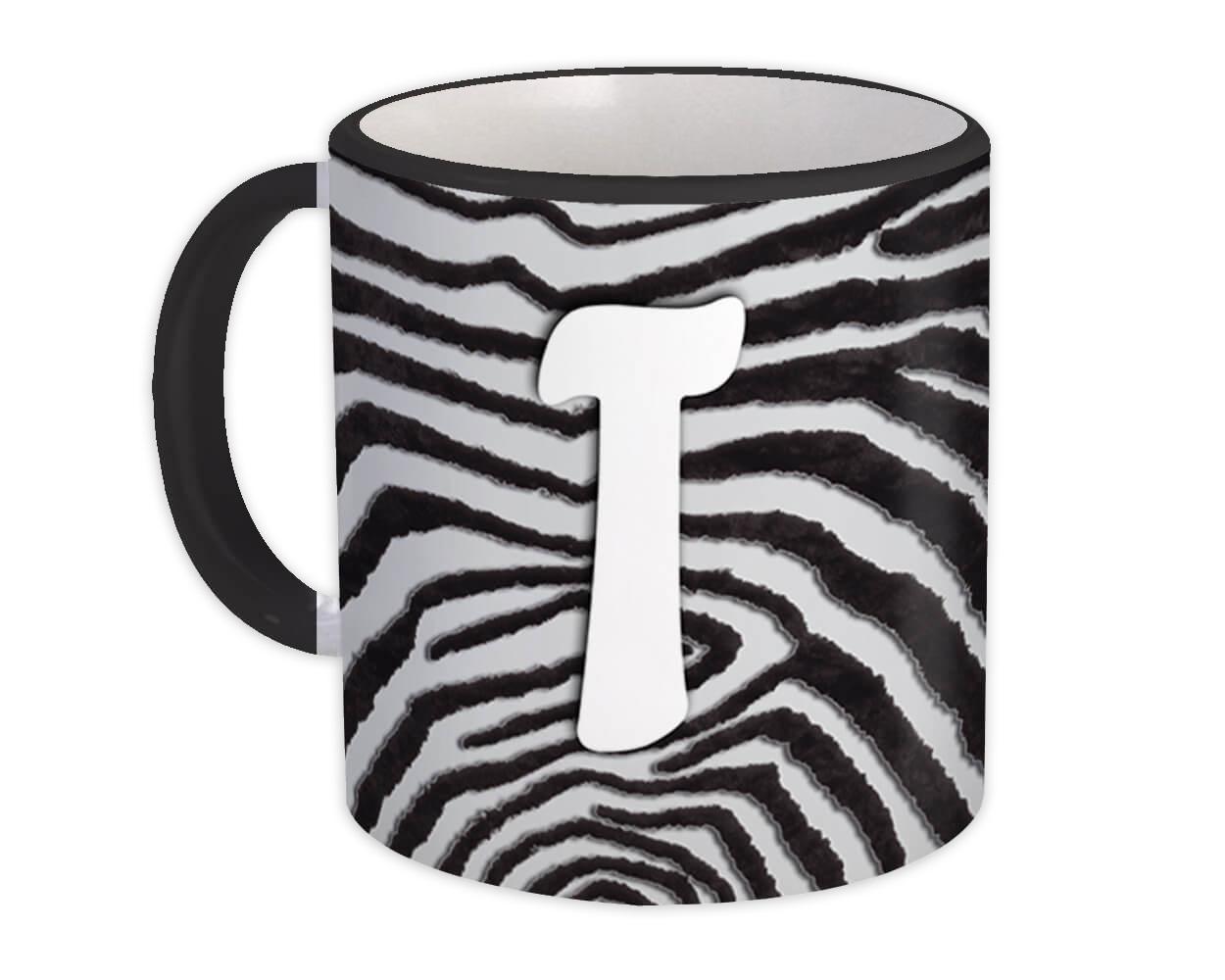Monogram Letter T : Gift Mug Zebra Letter Initial ABC Animal Print