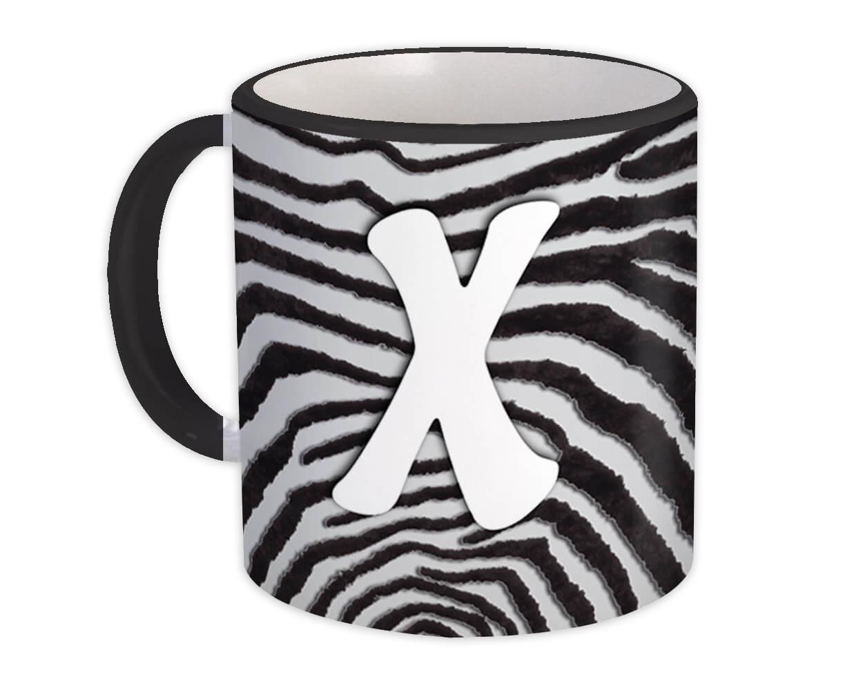 Monogram Letter X : Gift Mug Zebra Letter Initial ABC Animal Print