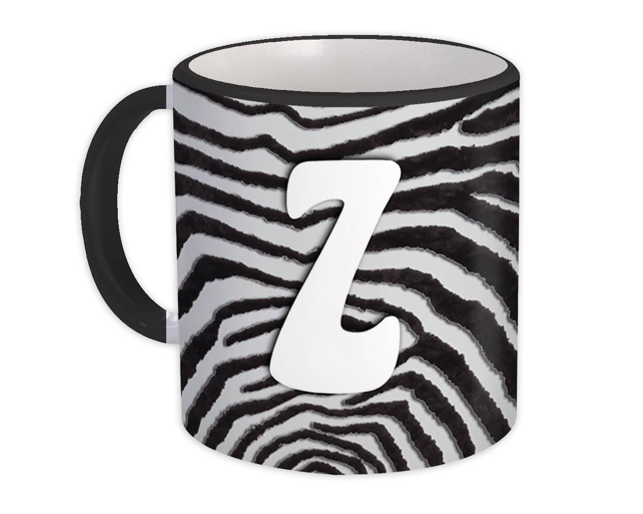 Monogram Letter Z : Gift Mug Zebra Letter Initial ABC Animal Print