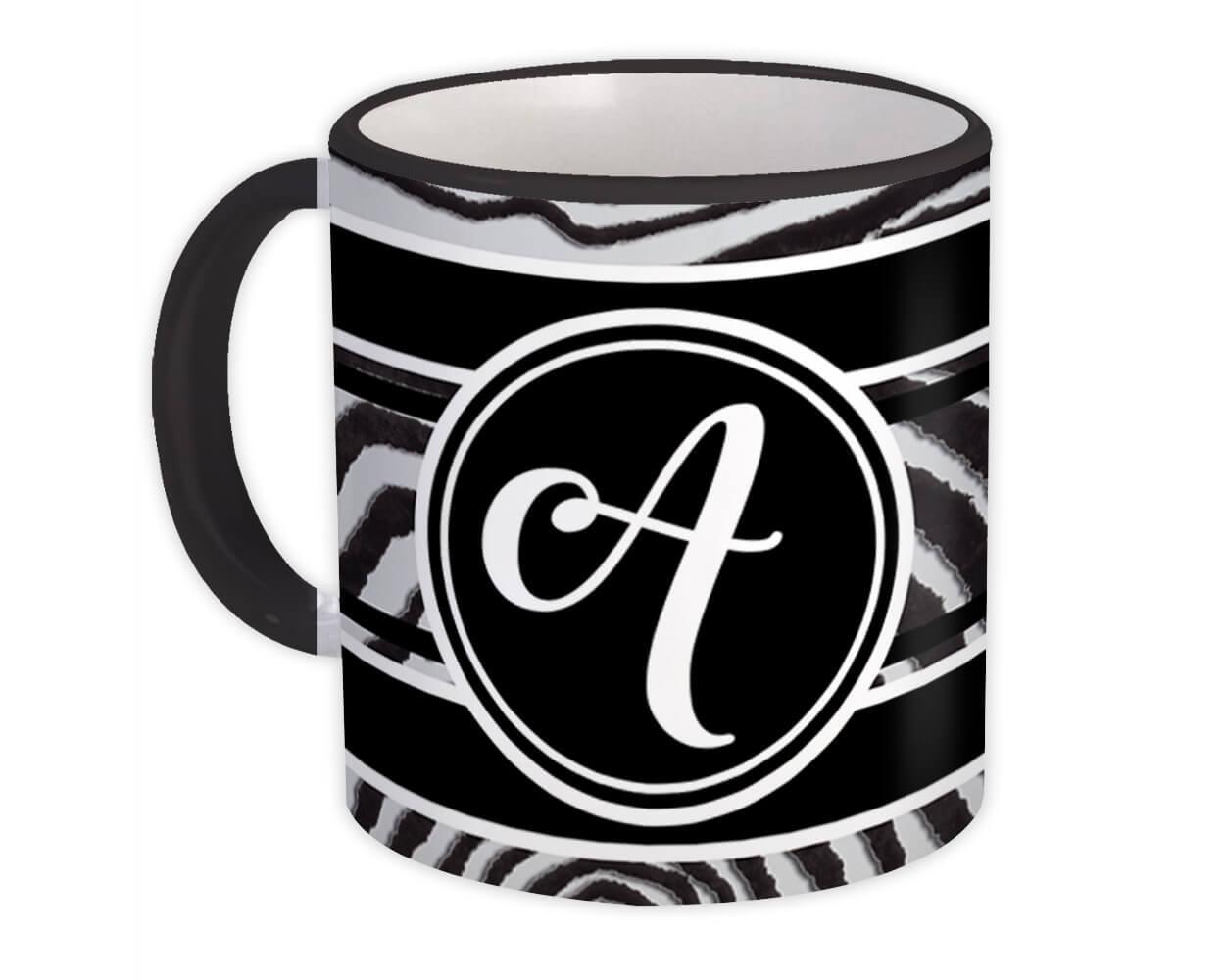 Monogram Letter A : Gift Mug Zebra Black Letter Initial ABC Animal