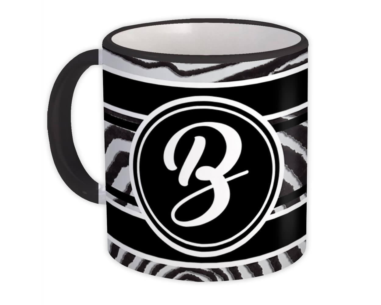 Monogram Letter B : Gift Mug Zebra Black Letter Initial ABC Animal