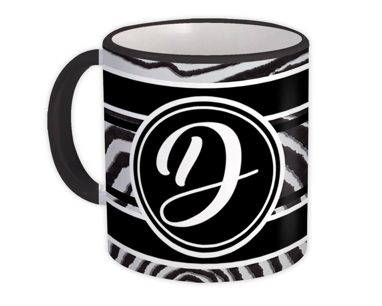 Monogram Letter D : Gift Mug Zebra Black Letter Initial ABC Animal