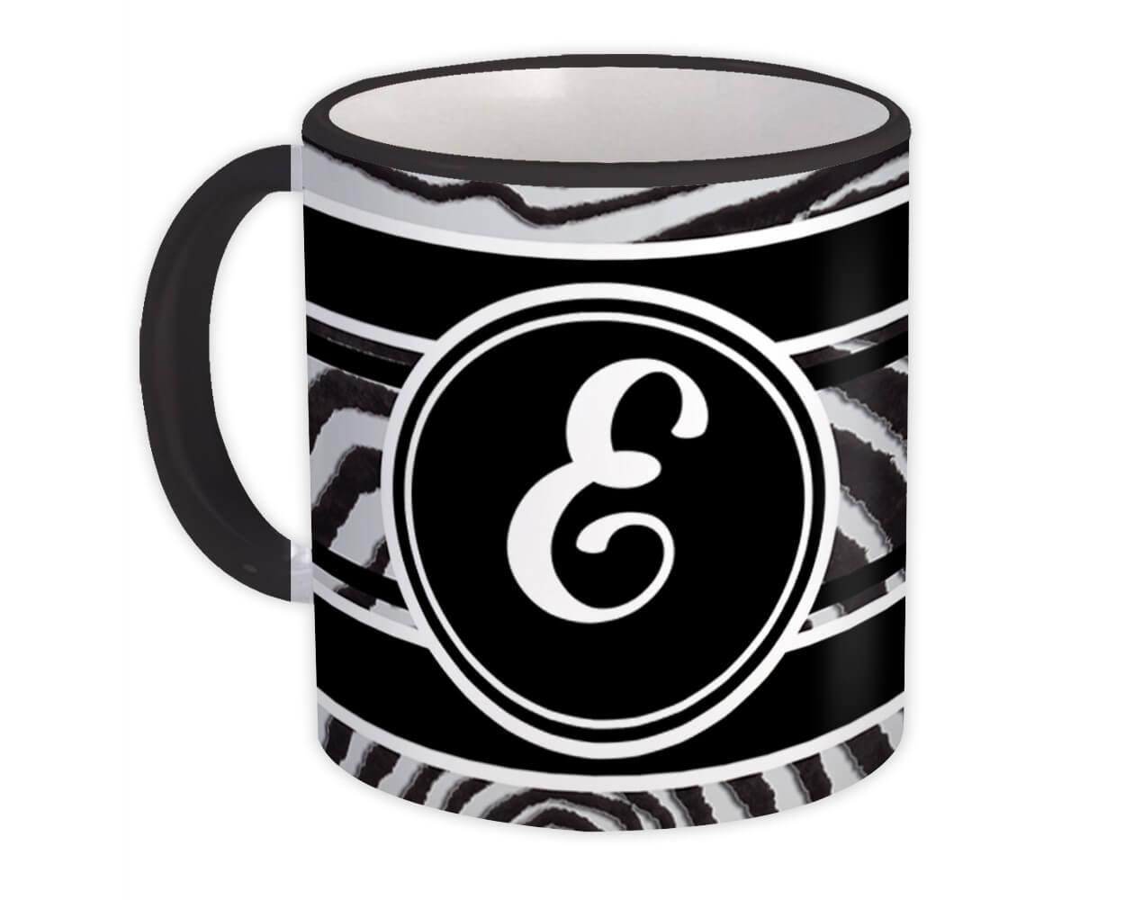Monogram Letter E : Gift Mug Zebra Black Letter Initial ABC Animal