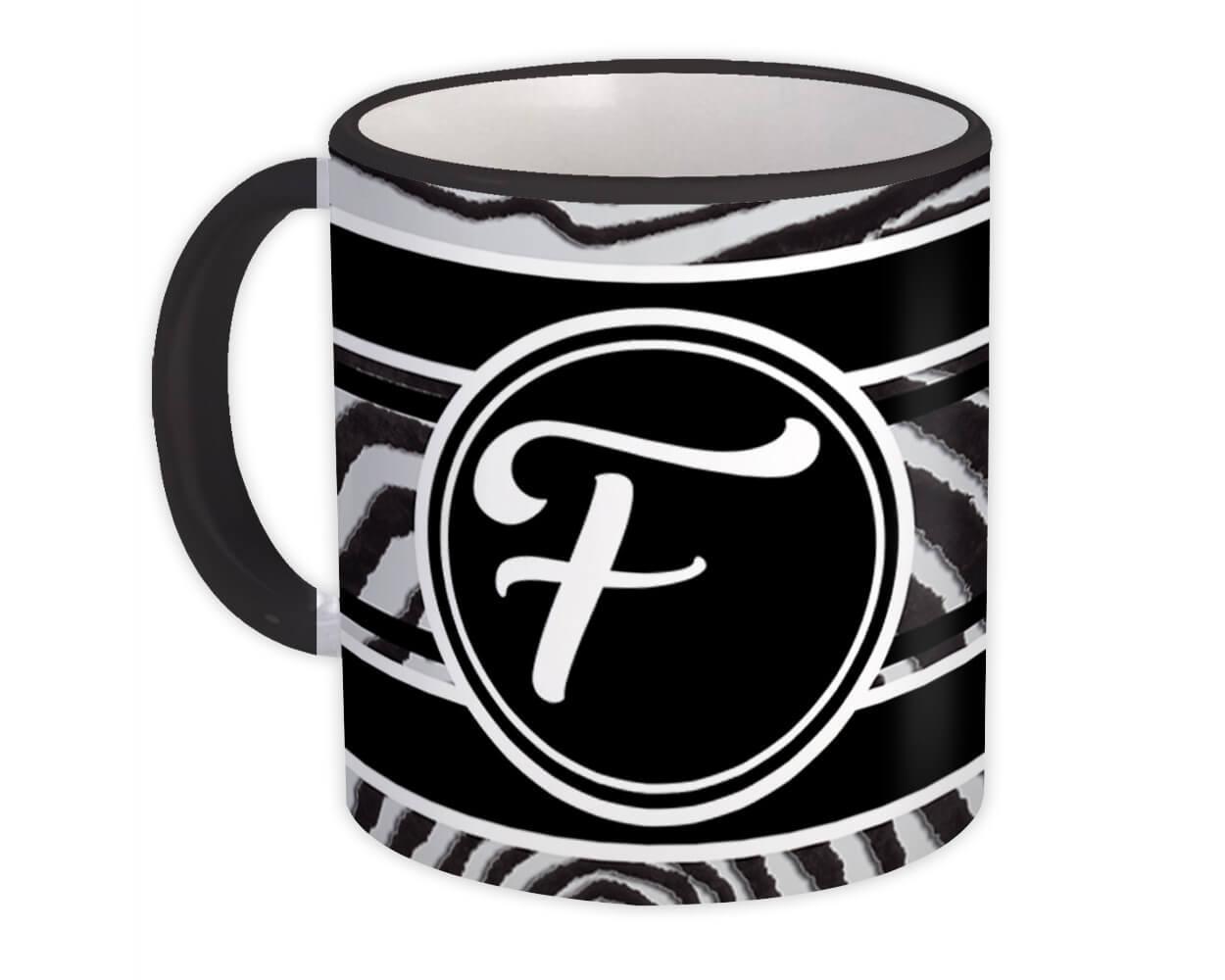Monogram Letter F : Gift Mug Zebra Black Letter Initial ABC Animal