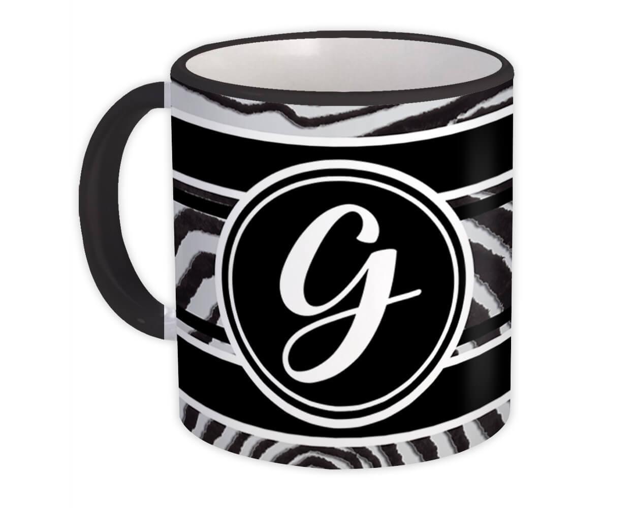 Monogram Letter G : Gift Mug Zebra Black Letter Initial ABC Animal