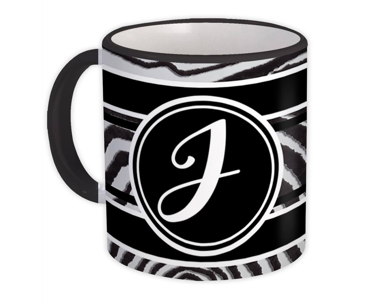 Monogram Letter J : Gift Mug Zebra Black Letter Initial ABC Animal