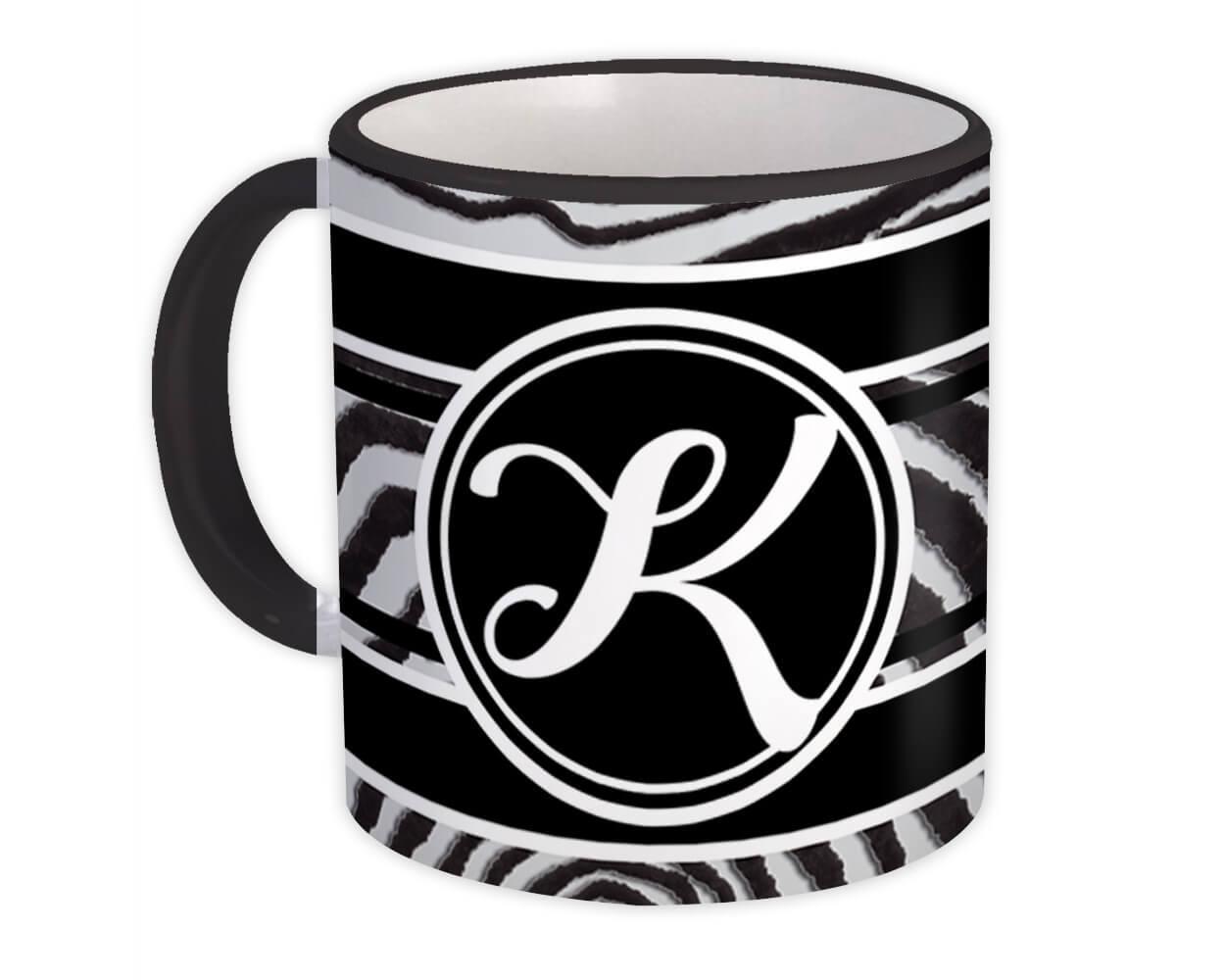 Monogram Letter K : Gift Mug Zebra Black Letter Initial ABC Animal
