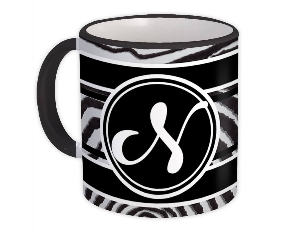 Monogram Letter N : Gift Mug Zebra Black Letter Initial ABC Animal